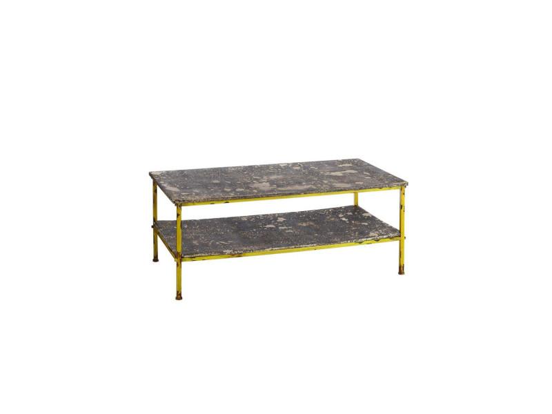 Table Basse Métal Jaune Et Aspect Pierre Brutus L 122 X L 61 X H