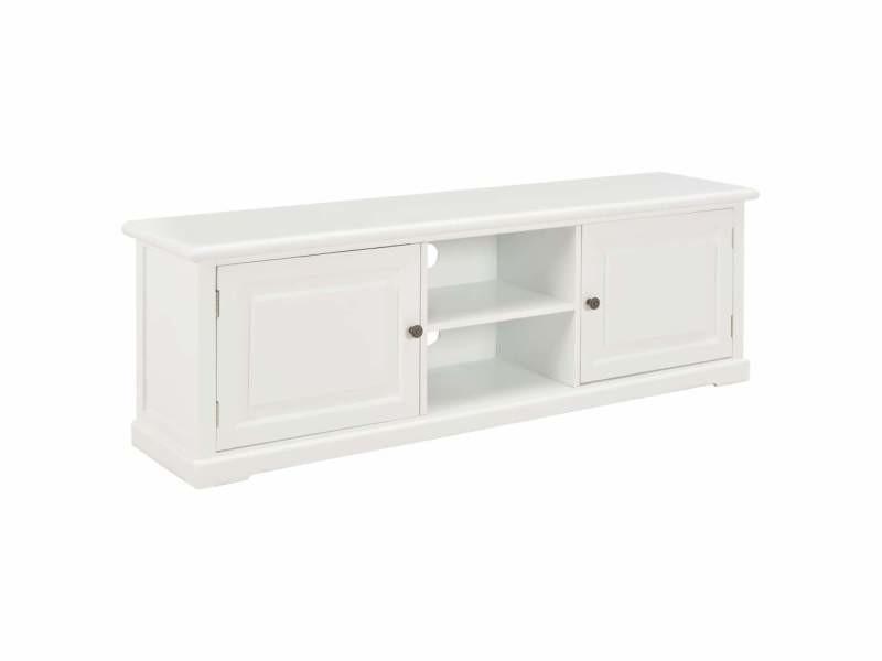 Meuble télé buffet tv télévision design pratique blanc 120 cm bois helloshop26 2502111