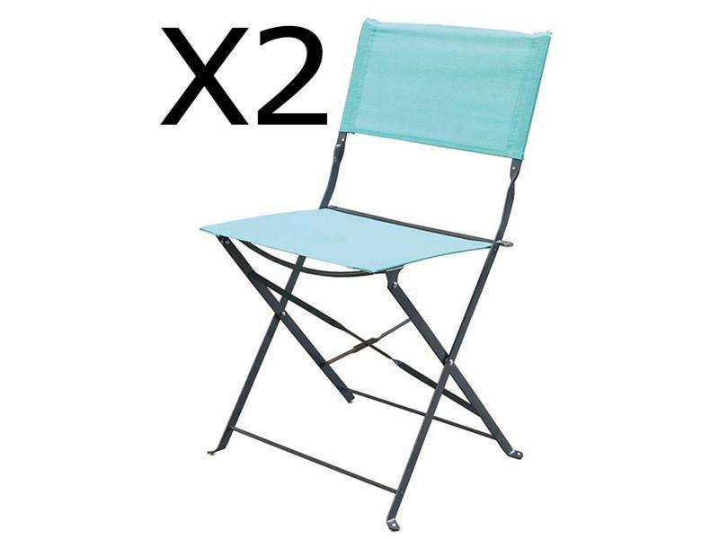 Lot de 2 chaises pliantes de jardin en acier et textilène, coloris mint -pegane-