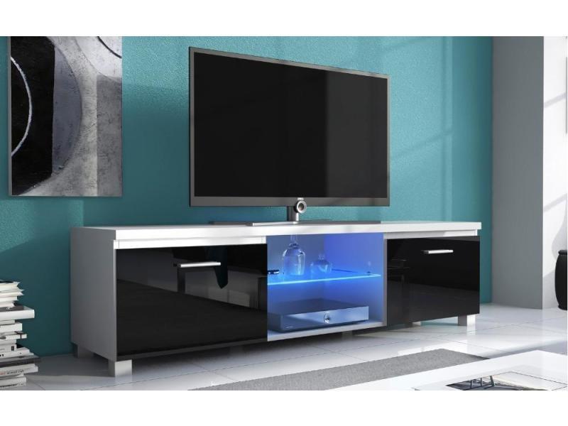 Meuble Bas Tv Led Sejour Blanc Mate Et Noir Laque Dim 150 X 40 X 42cm Vente De Meuble Tv Conforama