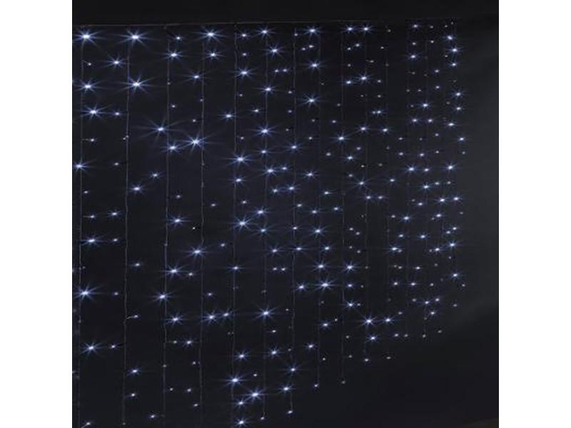Rideau lumineux extérieur 300 led blanc froid - dim : l.150 x l.0,05 x h.200 cm -pegane-