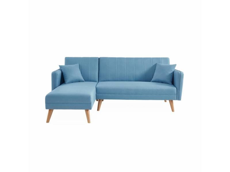 Canapé convertible en tissu. 3 places réversible. Scandinave. Pieds bois. Bleu