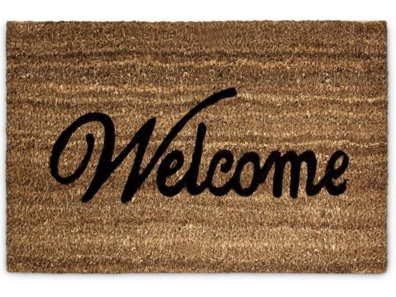 Paillasson tapis porte d'entrée essuie-pieds fibre de coco marron 60 x 40 cm helloshop26 2013042
