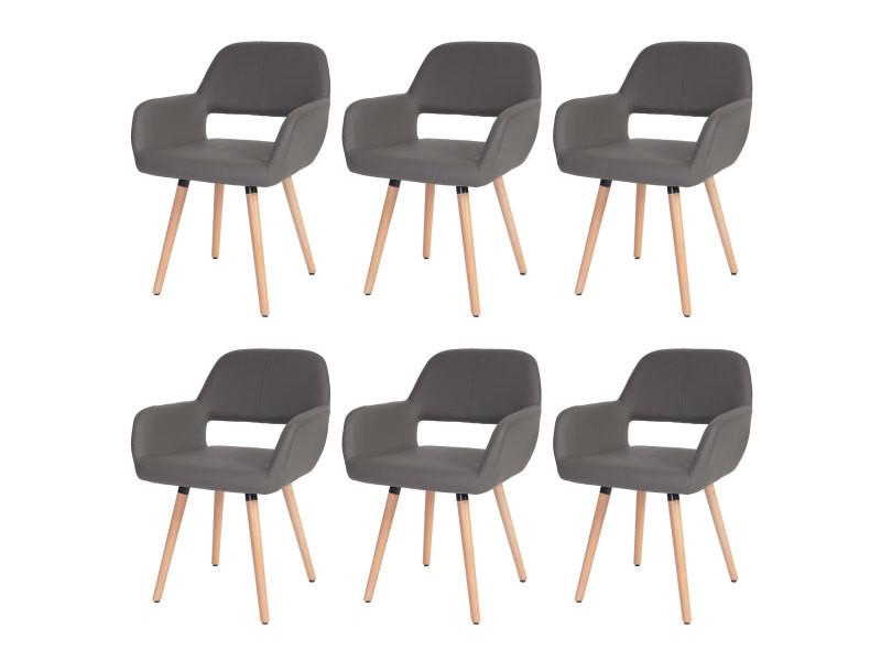 6x chaise de salle à manger hwc-a50 ii, fauteuil, design rétro des années 50 ~ similicuir, gris