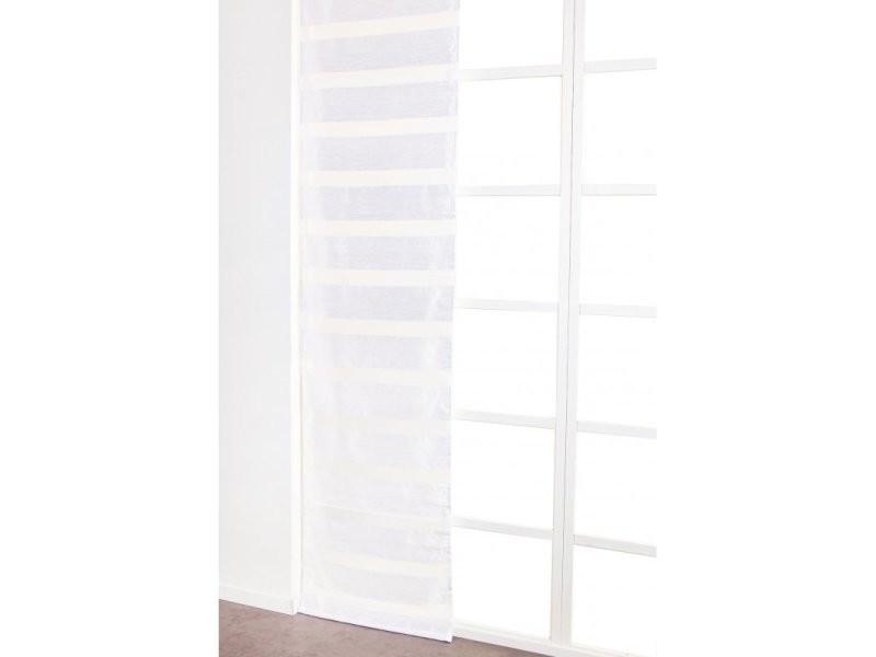 Panneau japonais 60 x 300 cm à scratch grande hauteur effet naturel bandes horizontales tissées blanc