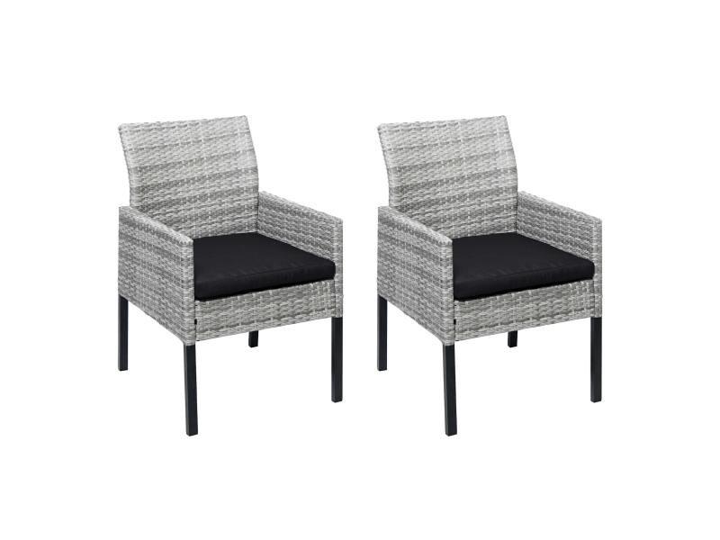 2x fauteuil de jardin en polyrotin hwc-g12 ~ gris, coussin anthracite, alu, semi-circulaire, spun poly