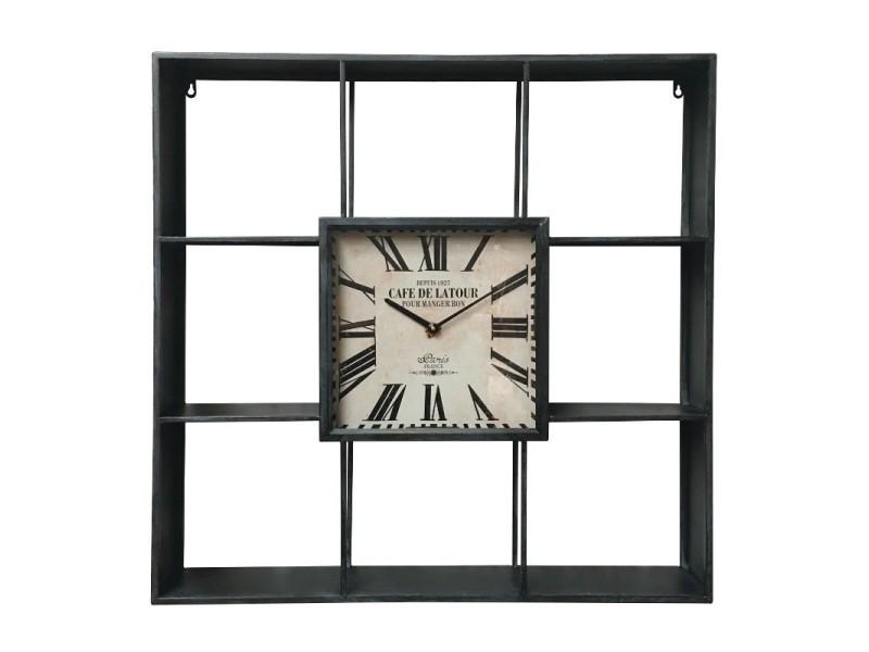 Etagère industrielle murale horloge industrielle murale 80 cm x 80 cm x 12 cm 15093-Horloge