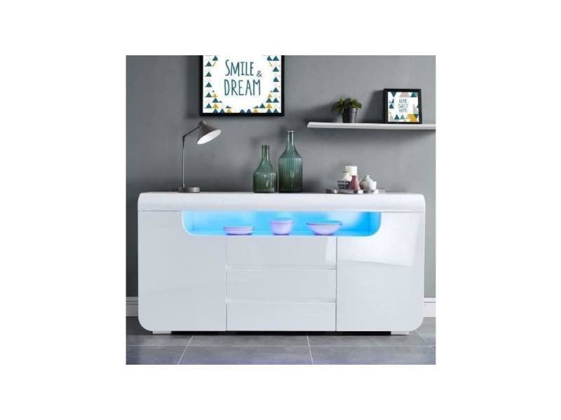 Miami buffet contemporain avec led laqué blanc brillant - l 150 cm MIAMI01