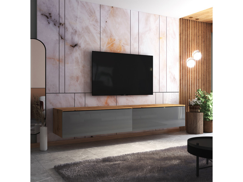 Meuble tv - skylara - 200 cm - chêne wotan / gris brillant