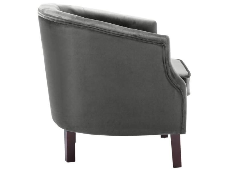 Vidaxl fauteuil avec revêtement en velours 65 x 64 x 65 cm anthracite 247009