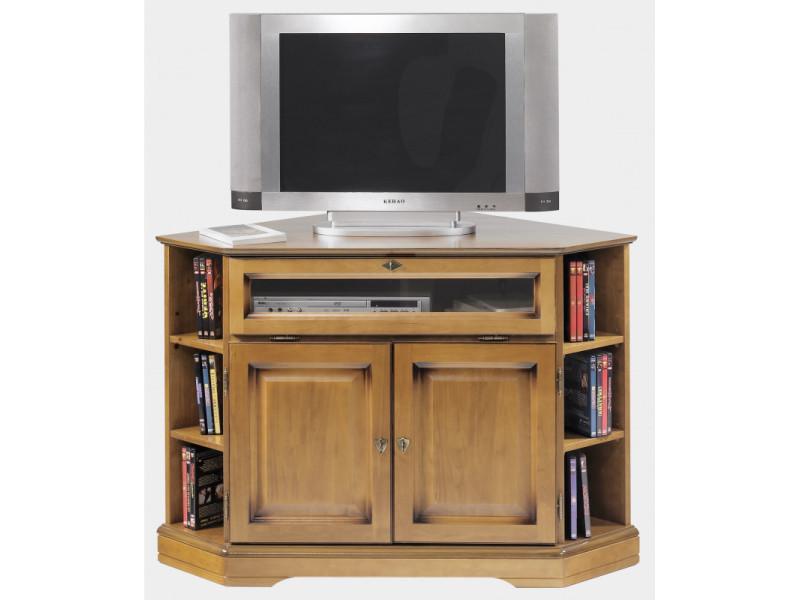 Meuble tv d'angle louis philippe en finition merisier - florie
