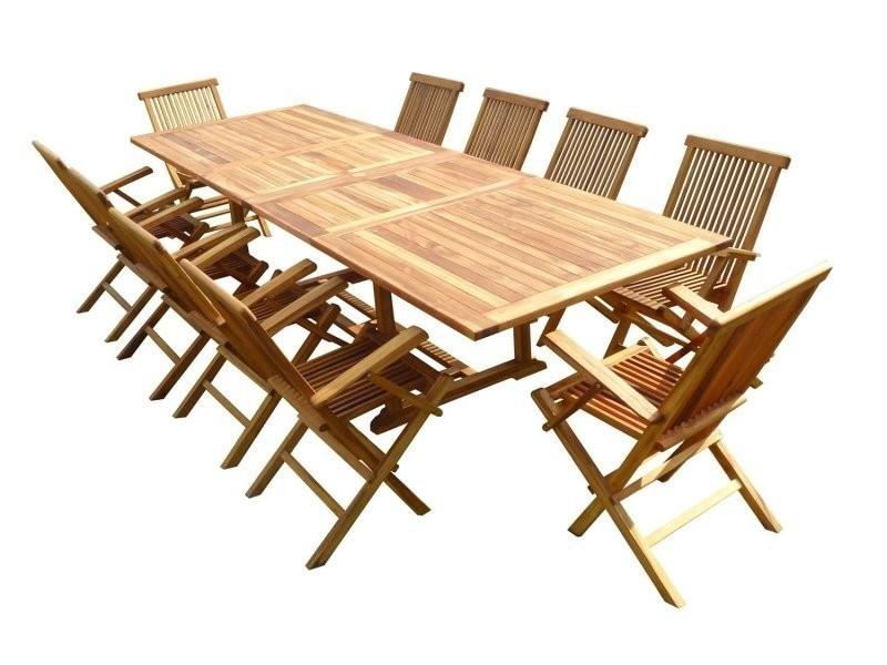 Ensemble de jardin en teck huilé kaloa 10 fauteuils pliants jumak