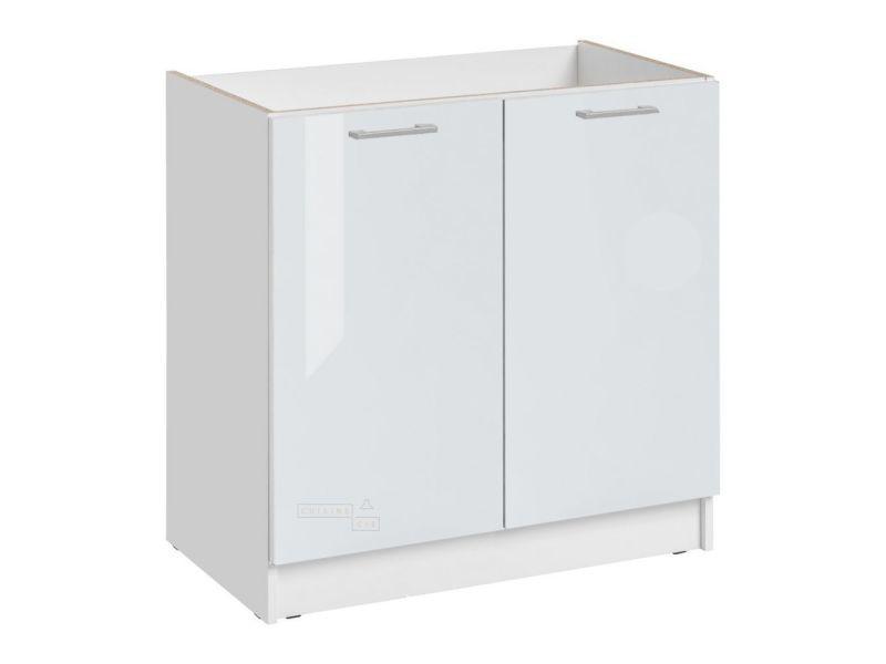 Meuble sous-évier cuisine - 2 portes, l 80 cm - blanc brillant