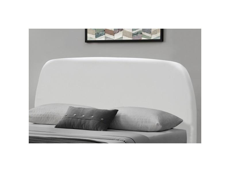 lit sandvik cadre de lit scandinave blanc avec pieds en bois 160x200cm conforama. Black Bedroom Furniture Sets. Home Design Ideas