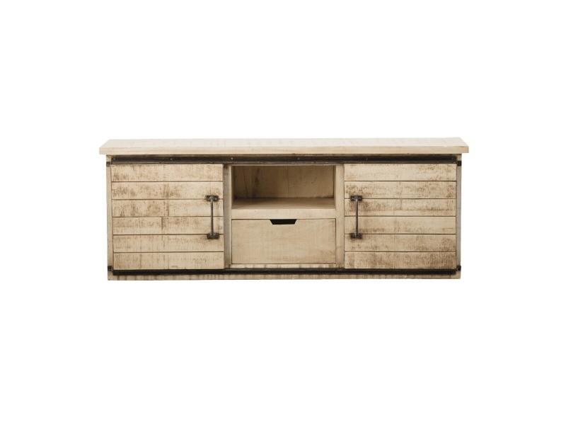 Meuble tv industriel portes coulissantes en bois effet vintage | if626a