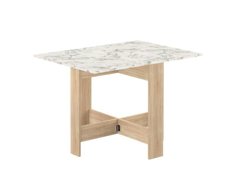 Table pliante papillon - chêne naturel et marbre