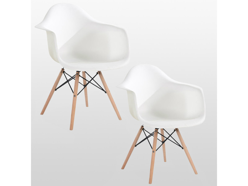 Lot de 2 chaises style scandinaves blanches ajie