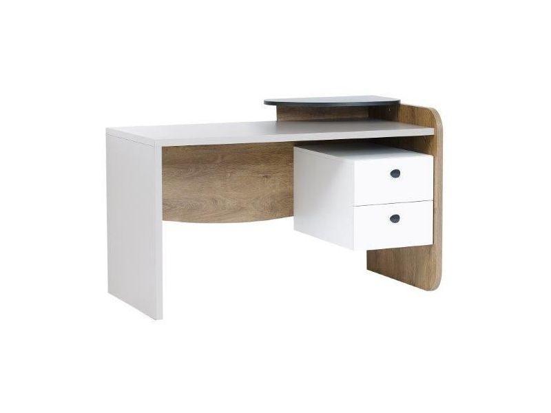 Bureau moderne cm avec tiroirs coloris blanc et gris vente