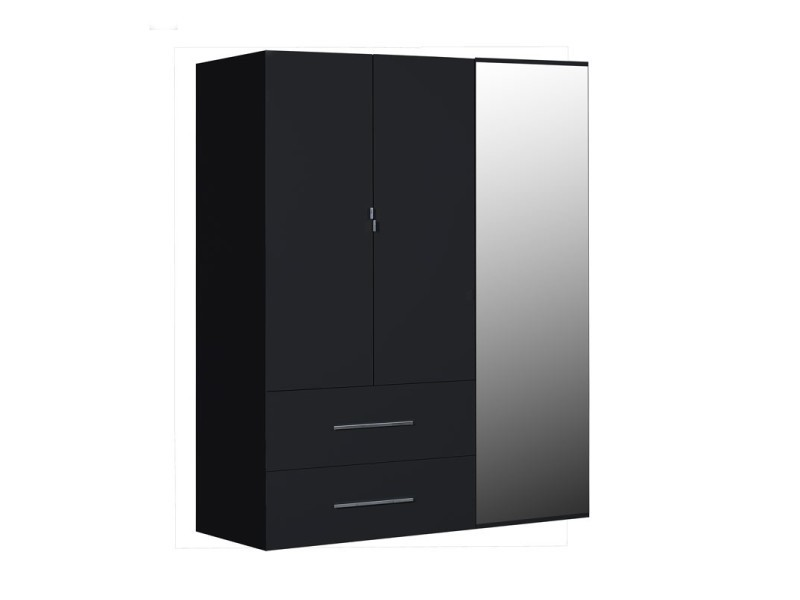 armoire 3 portes 2 tiroirs laqu noir uno l 162 x l 54. Black Bedroom Furniture Sets. Home Design Ideas