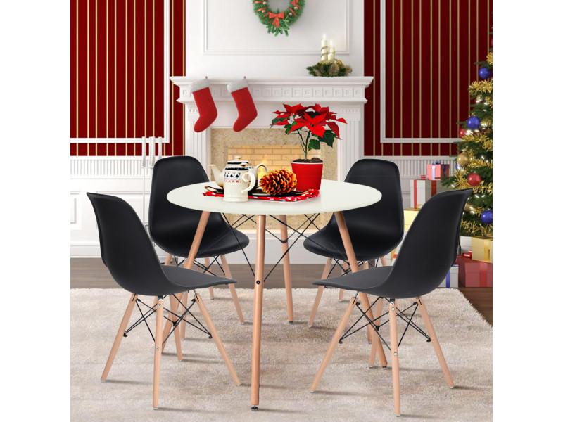 Ensemble table chaises 4 places scandinave blanche table et noir chaise plastique bois
