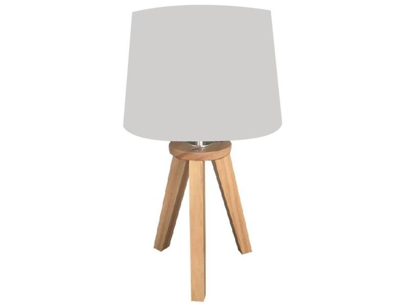 lampe scandinave 3 pieds en bois gris vente de atmosphera conforama. Black Bedroom Furniture Sets. Home Design Ideas