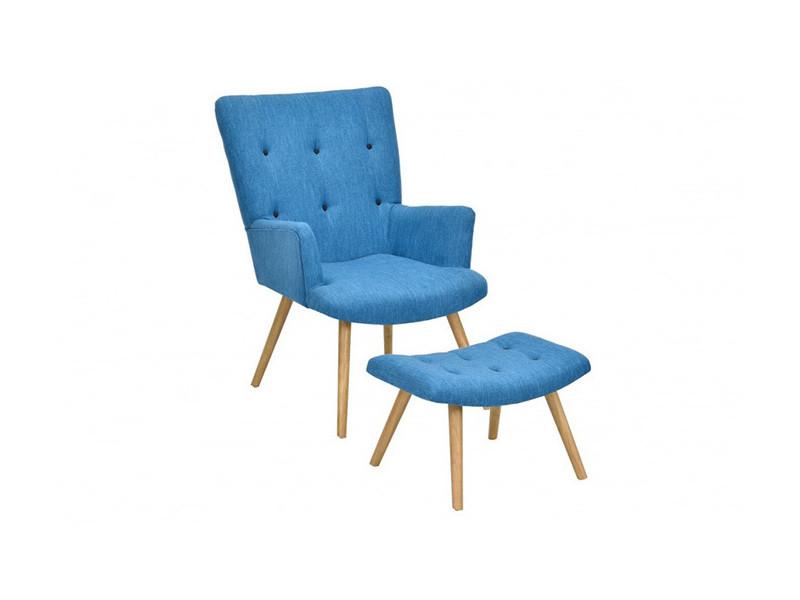 fauteuil scandinave repose pieds bleu canard conforama