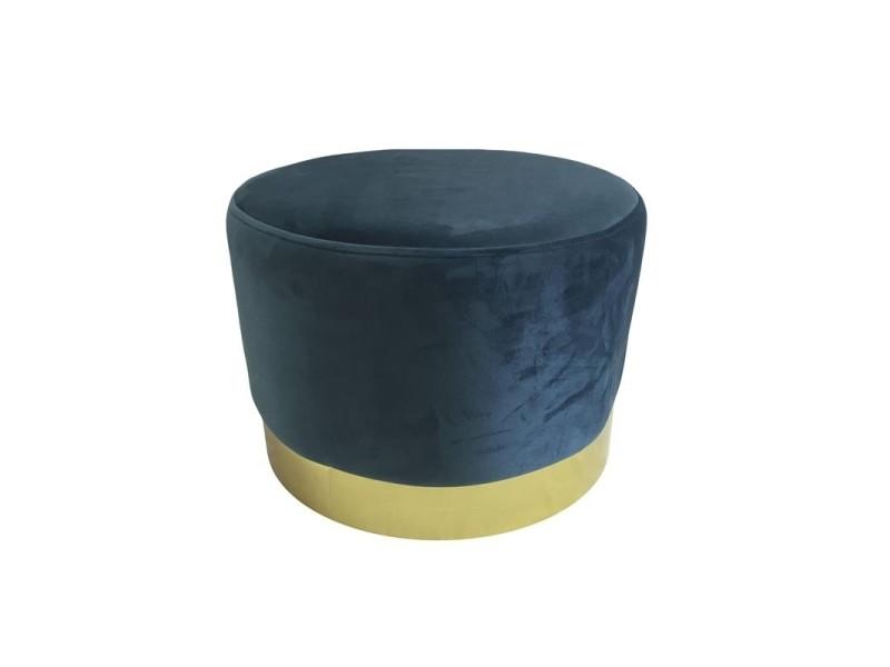 Pouf imitation velours - base en métal - d 50 x h 45 cm - bleu