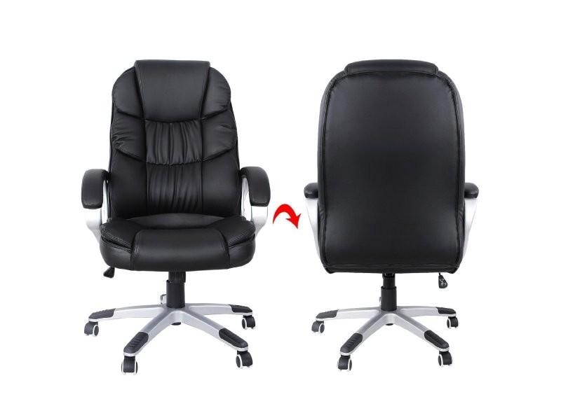 Fauteuil de bureau chaise si ge noir ergonomique classique 150 kg max helloshop26 0512010 - Fauteuil de bureau 200 kg ...