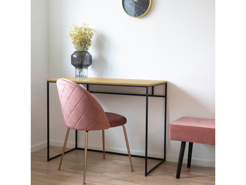 Bureau design - seaford - 100 cm - chêne / noir - style industriel