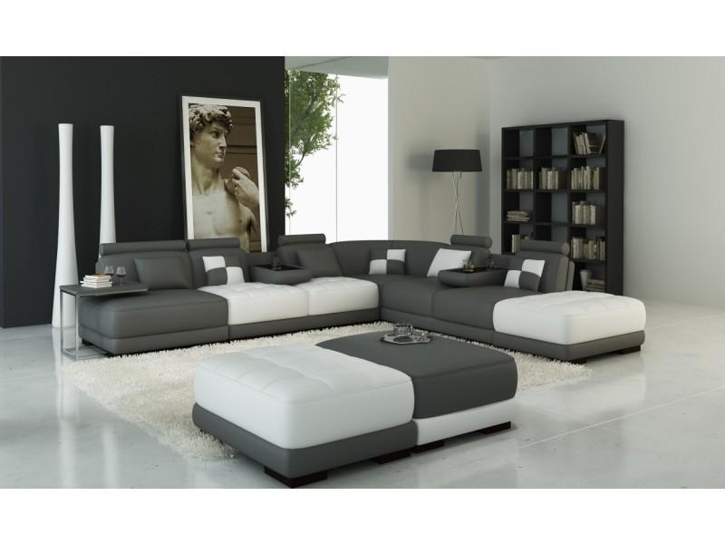 Canapé panoramique en cuir blanc et gris design malaga-
