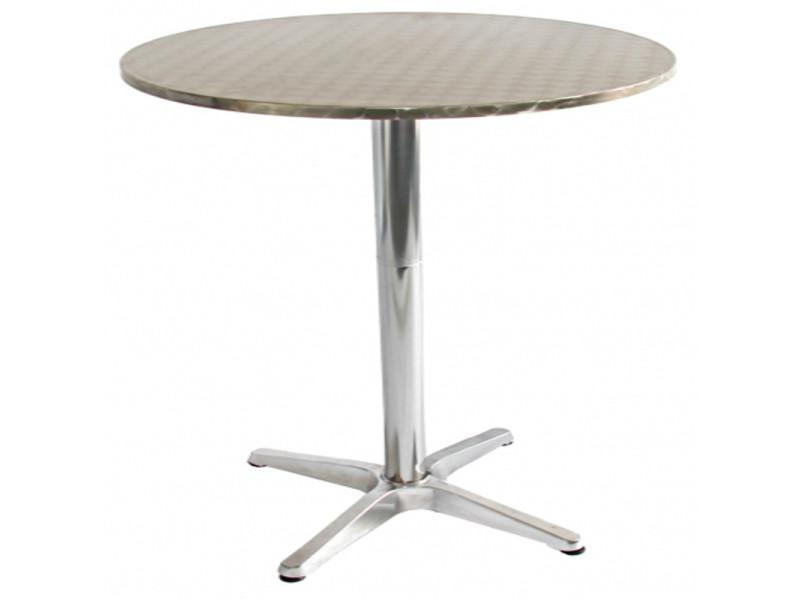 Table de jardin en aluminium ronde réglable, dim : h 70-110 x d 60 cm, coloris : chromé-pegane-