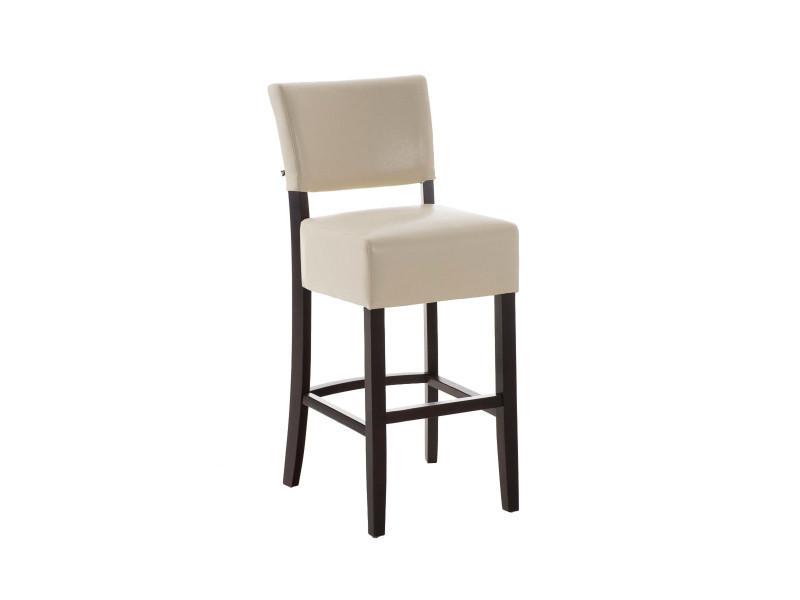 Tabouret de bar en bois avec siège en polyuréthane coloris cappuccino/creme - 109 x 47 x 53 cm - pegane -