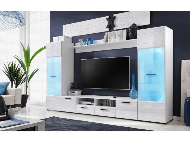Meubles switch 260 cm blanc laqué avec vitrines led multicolore