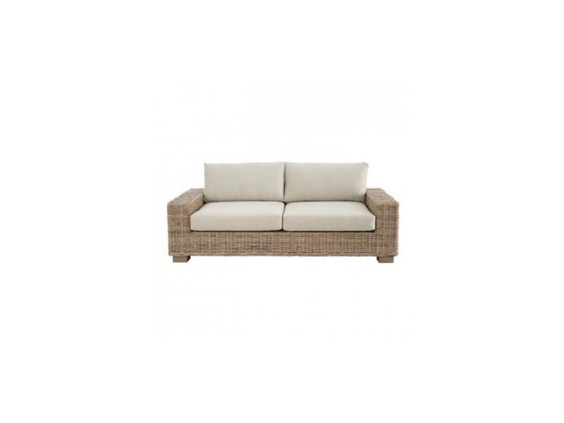 Canapé 3 places d'extérieur rotin tissu 198cm kilt