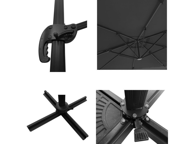 Salon d\'angle de jardin gris/noir + parasol déporté carré ...