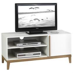 Meuble banc tv vintage riga mdf blanc et bois