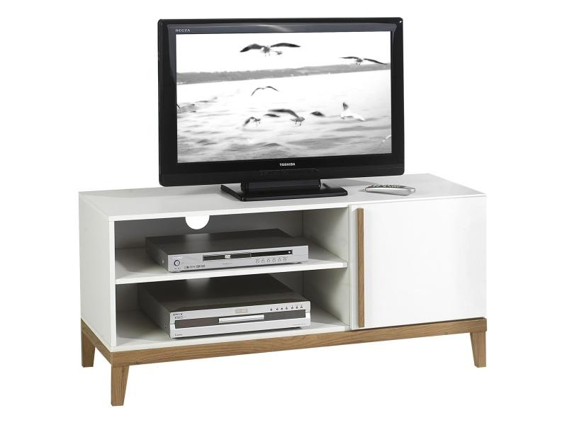 meuble banc tv vintage riga mdf blanc et bois vente de. Black Bedroom Furniture Sets. Home Design Ideas