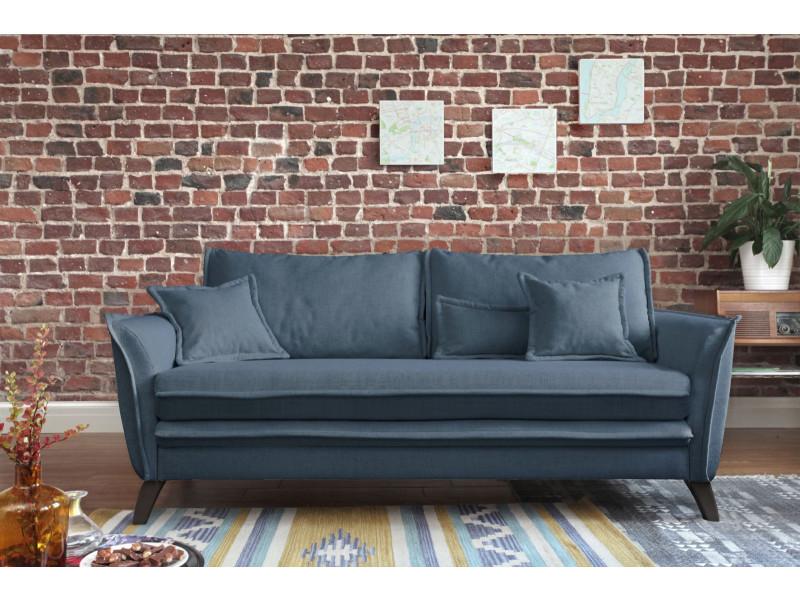 Canapé droit boho bleu
