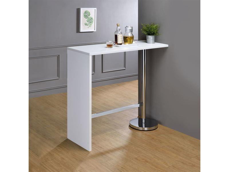 table haute de bar ricardo mange debout comptoir pi tement m tal chrom bois mdf blanc mat. Black Bedroom Furniture Sets. Home Design Ideas