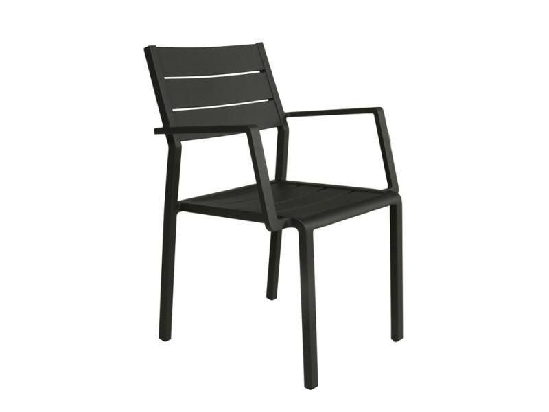 Chaise avec accoudoirs en aluminium anthracite trenton