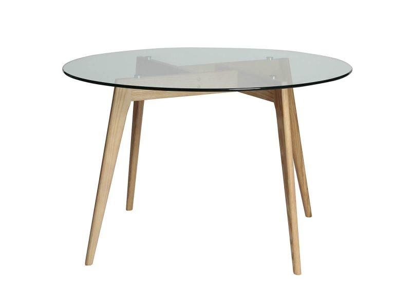 Joplin - table ronde plateau verre et pieds bois