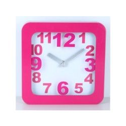 Pendule carré - 24 x 24 cm - rose