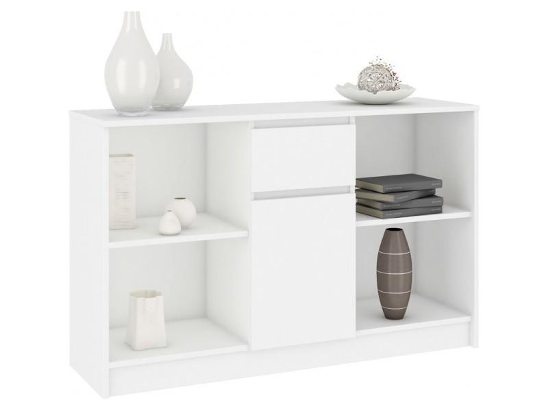 Lars - commode buffet design tendance salon/séjour/chambre 120x77x40 cm - meuble de rangement bibliothèque déco/livres - blanc