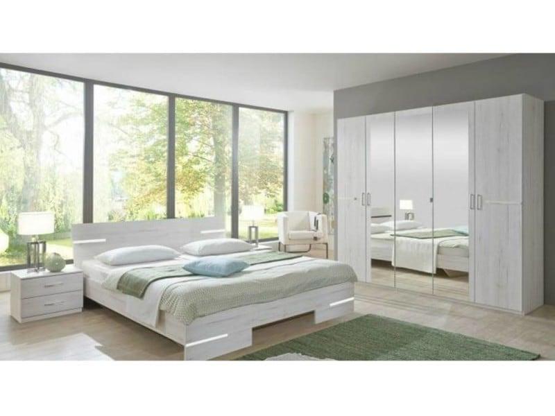 chambre coucher caramella chne blanc 140200cm 20100866522 conforama