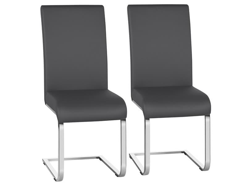 Yaheetech lot de 2 chaises de salle à manger en simili cuir gris foncé