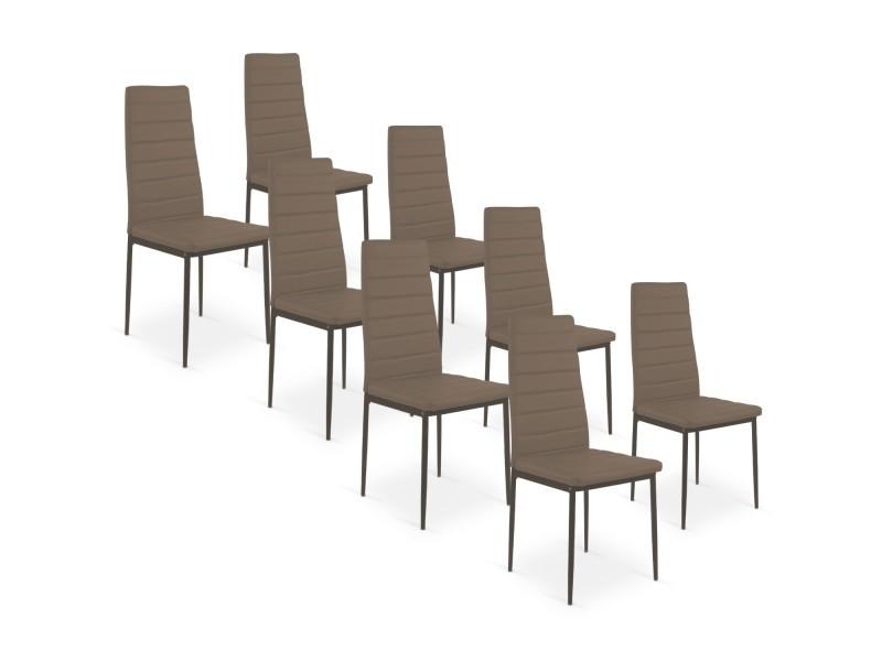 Vente de 8 Conforama taupe chaises Chaise Lot de strip Y7vf6gby