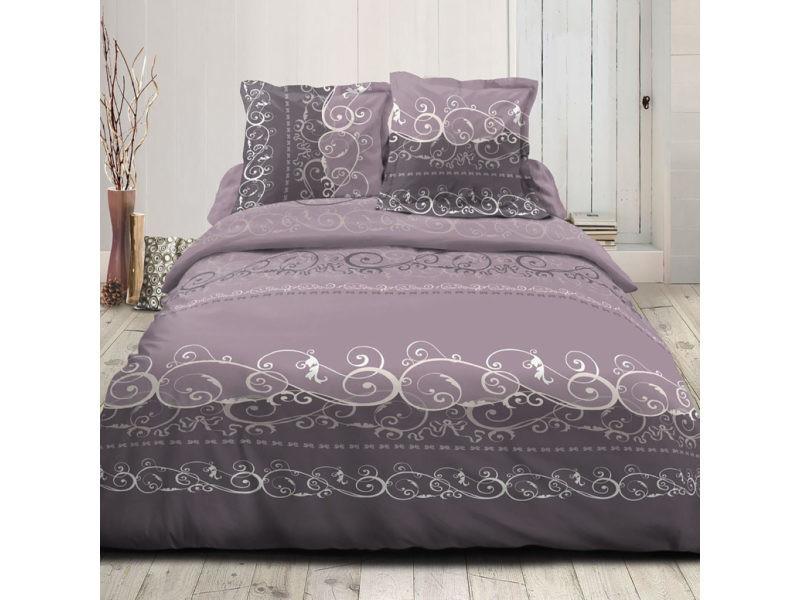 parure de couette 100 coton voltaire aubergine housse de couette 200x200 cm vente de. Black Bedroom Furniture Sets. Home Design Ideas