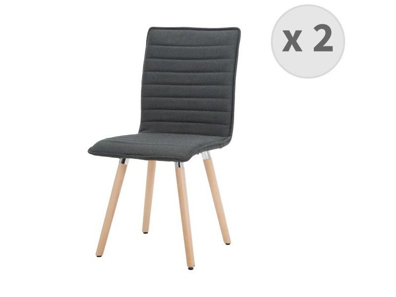 p>lot de 2 chaises de salle à manger scandinave tissu gris ...