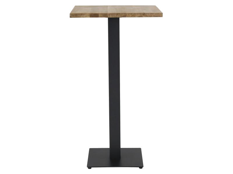 Table de bar bistrot plateau carré pin 60 x 60 cm piétement métal noir carré