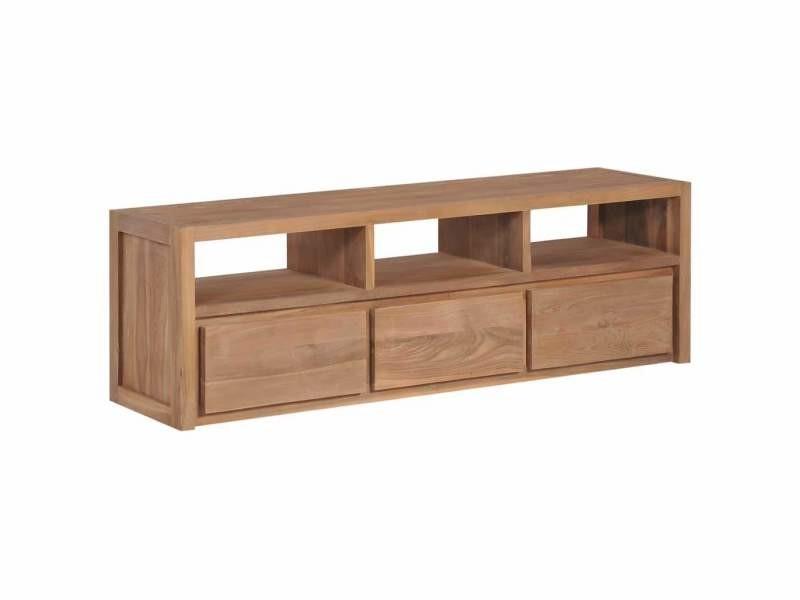 Meuble télé buffet tv télévision design pratique bois massif de teck et finition naturelle 120 cm helloshop26 2502183